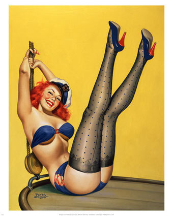 cartoon, pin up girl, red head, smile, stockings