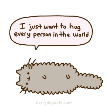 cat, cute, cute:3, drawing, everyday cute, fluffy, fur, fuzzy, grey, hug, kitty, pusheen, pusheen the cat, pusheens, pussycat, sweet, text, wordl