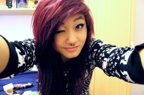 cats, girl, hair, piercing, purple, scene, septum