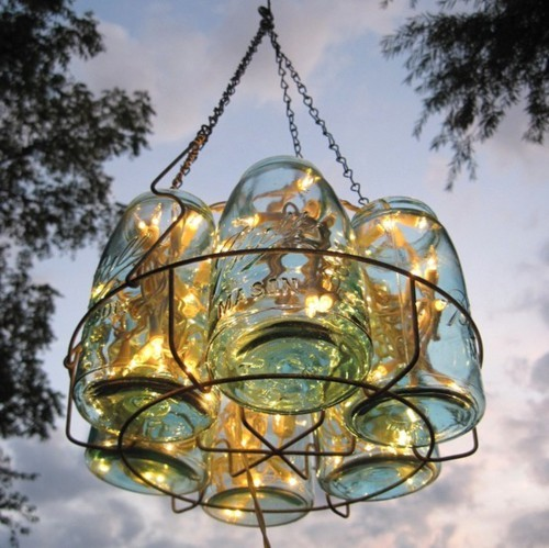 chandelier, fairy lights, hanging jars, jar chandelier, jars