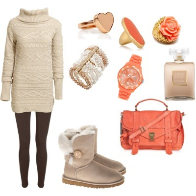 chanel, coco, fashion, orange, outfit, rings, soft, style, ugg, uggs, warm