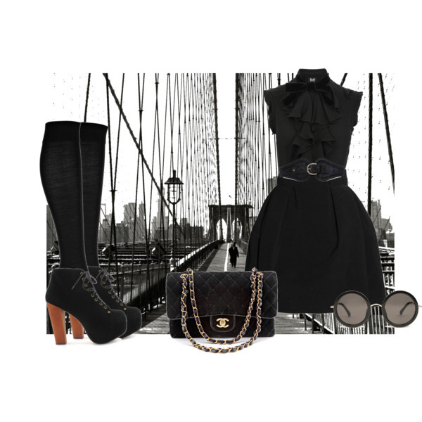 chanel, jeffrey campbell, outfit, polyvore, sunglasses