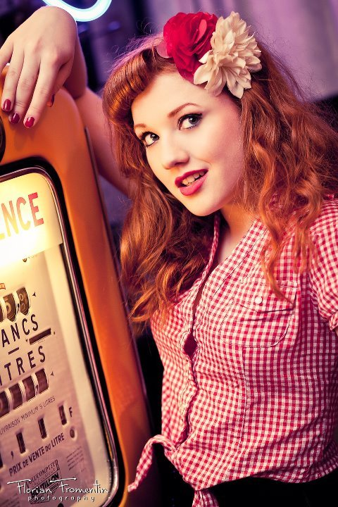 chess, flower, junkebox, makeup, pin up, red hair, rockabilly, rockabilly girl, vintage