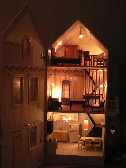 Childhood dollhouse fairylights lights magical image for Doll house lighting