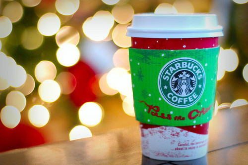 christmas, coffee, drink, holiday, lights