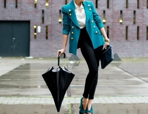 clothes, coat, cute, fashion, heels, high heels, love, outfit, pretty, purese, rain, shoes, umbrella, weather