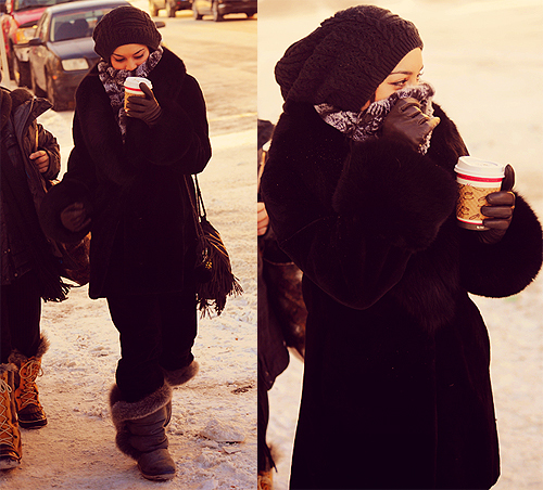 coffee, cold, fashion, girl, outside, pretty, vanessa hudgens, winter