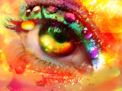 colorful, eye, glitter, make up, makeup, rainbow, sparkle, teardrop