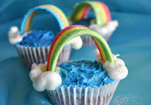 colors, cute, muffins, rainbow, yummy