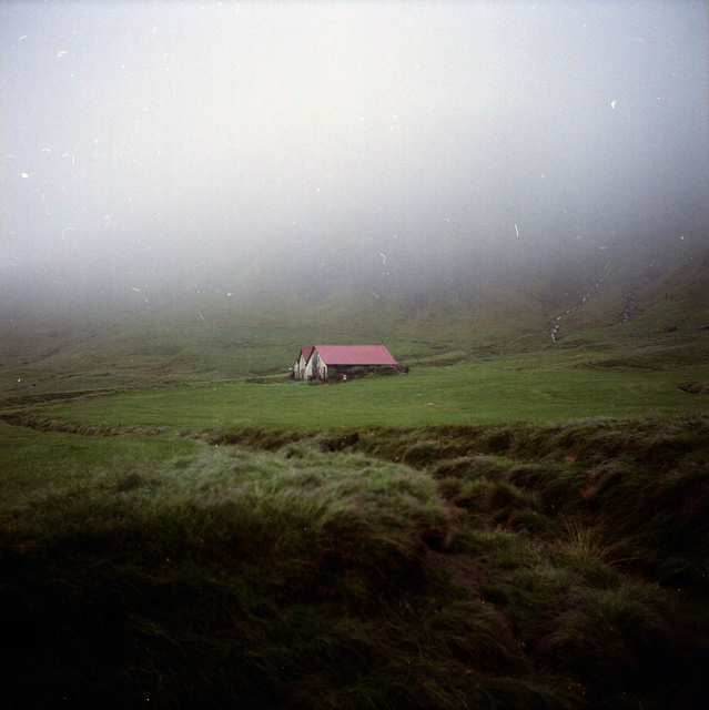 cottage, field, fog, house, iceland