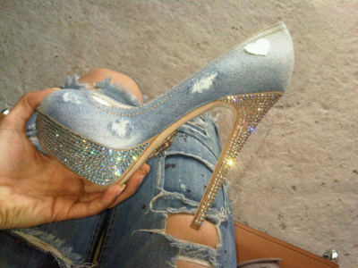 crystals, denim, glitter, heel, shoe