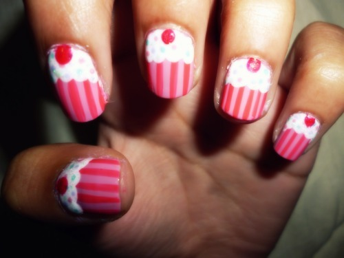 cupcake nails, cute, muffin nails, nail art, nails