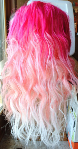 curls, dark pink, long hair, pink, pink hair, pretty, sunrise, white