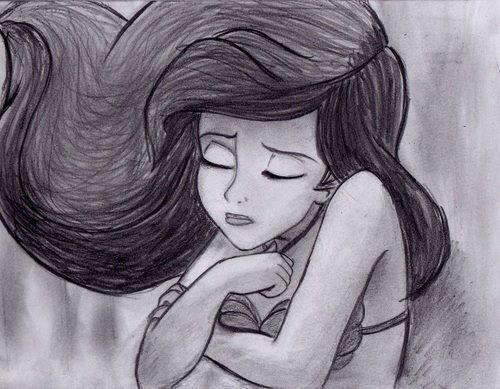 character, cute, disney, draw, fashion, hair, little mermaid, mermaid, ohgabriellima, sad