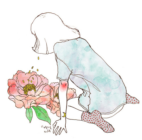 cute, drawing, flower, girl, illustration