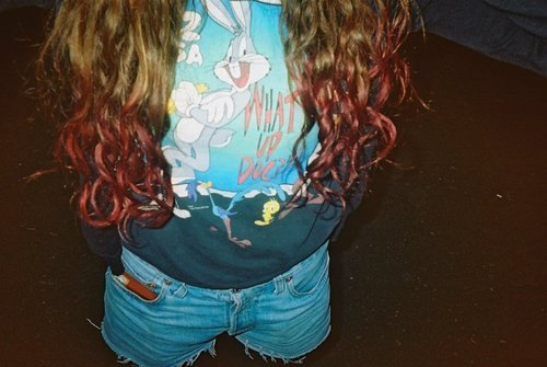 cute, dyed hair, dyed tips, fashion, girl, hair, pink hair, pretty, vintage