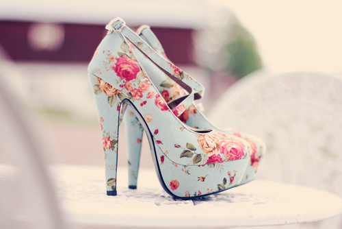 cute, flowers, heels, high, high heels