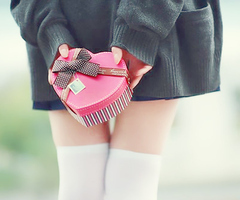 cute, girl, heart box, knee high socks, photography