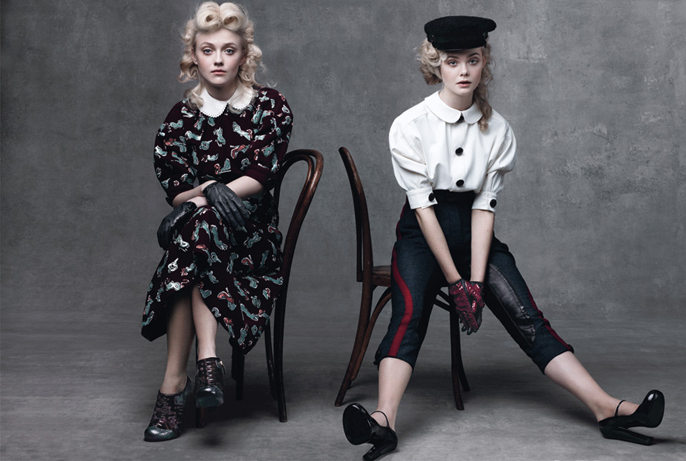 dakota fanning, elle fanning, sisters, teen vogue