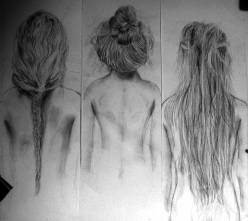 draw, drawing, fish braid, hair, messy bun