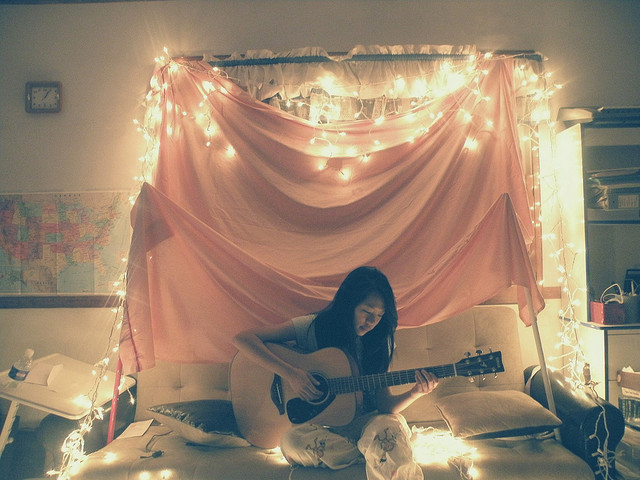 dreamy, fairylights, fort, girl, guitar