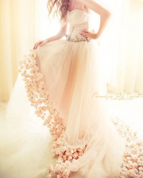 dress, flowers, pink, pretty, wedding dress