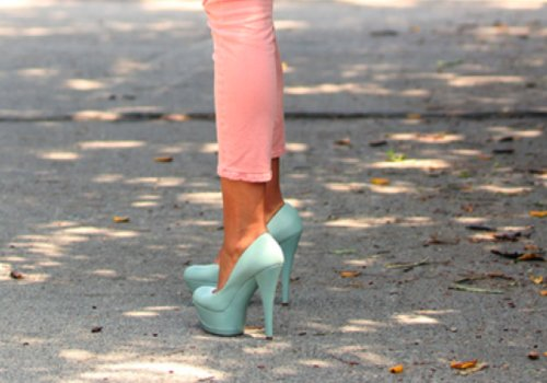 fashion, girl, heels, pink, skinny jeans