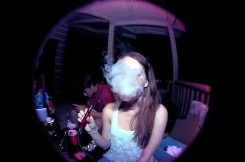 fisheye, girl, hookah, party, smoke