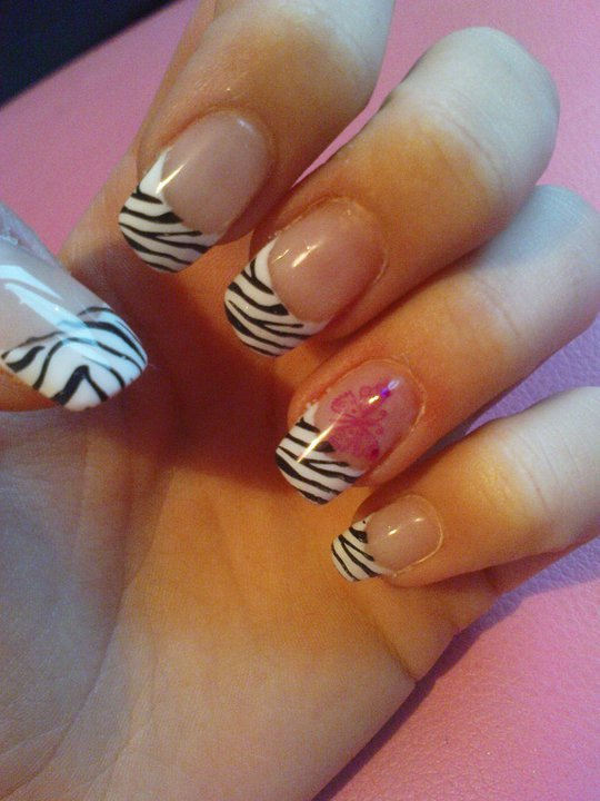 french manicure, nail art, nail polish, zebra print
