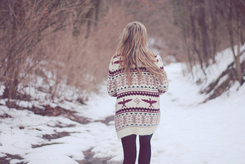 girl, jumper, nieznane, snow, winter