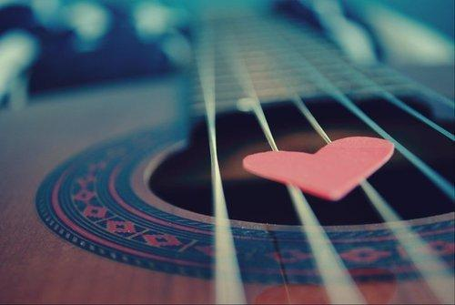 guitar, heart, love, music, pick, string