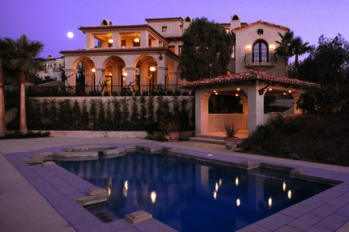 home, house, lights, luxury, moon, night, palm, pool, sky