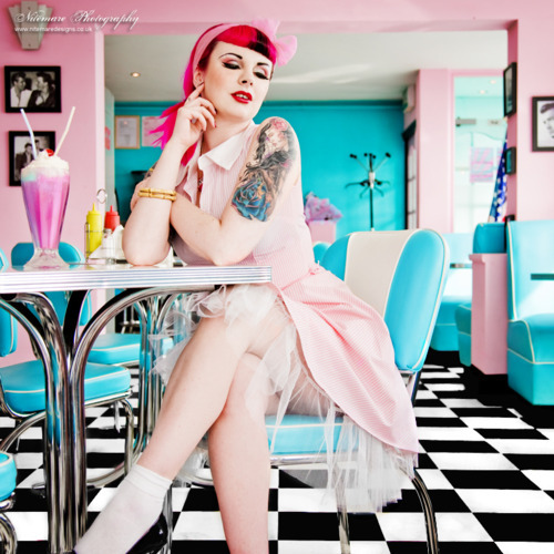 milkshake, pink, rockabilly girl, tattoo