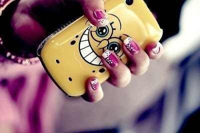 nails, phone, spongebob