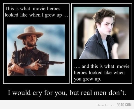 9gag, funny, immature, movie heroes, real men cries, text, true