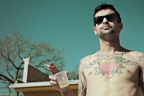 abs, beer, boy, cigarette, fresno, heart, hipster, hot, indie, sky, summer, sunglasses, tattoo, tavares, tree