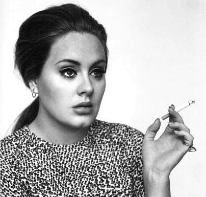 adele, beautiful, black and white, cigarette, girl