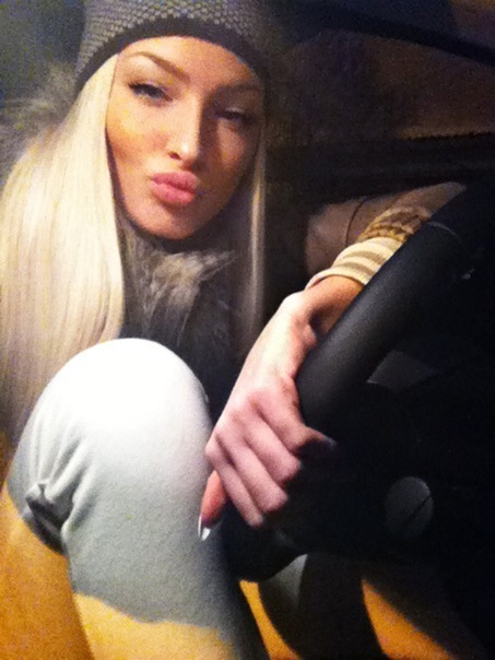 alena shishkova, blonde, car, girl, hot, long hair, nails, pretty, sexy