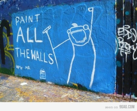 all, blue, graffiti, paint, paint all the walls