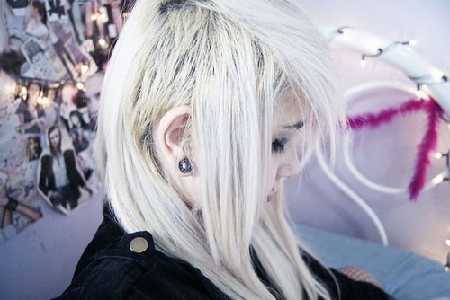 alternative, alternative girl, fashion, girl, piercing, piercings, plug, plugs, white hair