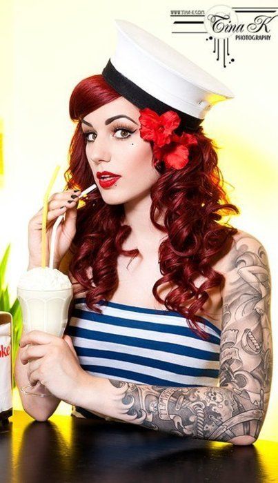 alternative, flower, hair, hairstyle, hat, makeup, navy, pin up, red hair, redhead, rockabilly, sailor girl, stripes, tattoos