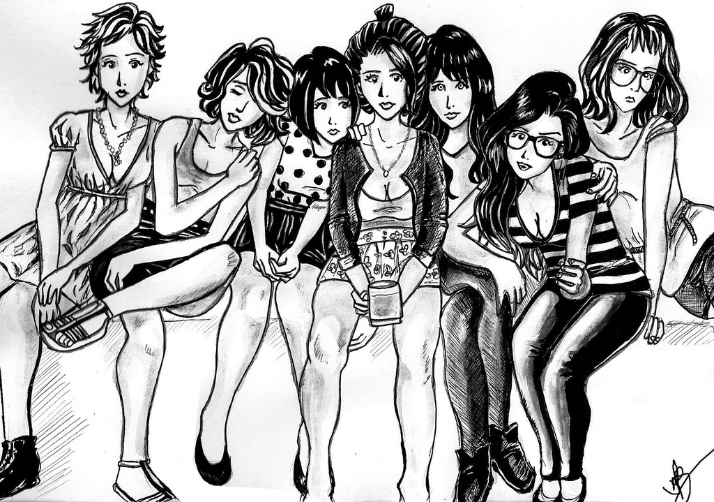 alternative girls, drawing, drawing girl, gilrs, girl
