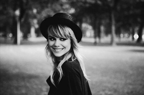 amazing, aww, beatrice martin, beautiful, black and white, blond, chick, clothes, coeur de pirate, cool, eyes, fashion, girl, hair, hat, laugh, laughter, lips, long hair, mouth, pretty, smile, smiling, white, wow