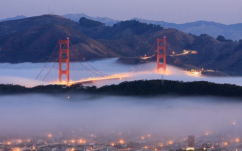 amazing, bridge, clouds, fog, love
