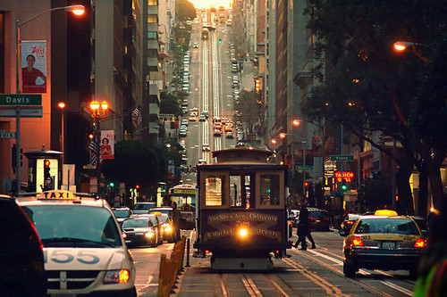 america, beautiful, cable car, california, cities, city, hill, north america, photography, pretty, road, san fran, san francisco, sttreet, taxi, tram, united states, united states of america, usa