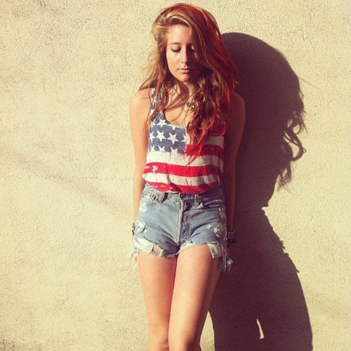 American Flag Brunette Girl Shadow Short Image 260328 On