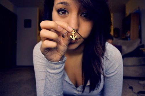 anchor, anchor necklace, cute, girl, hair