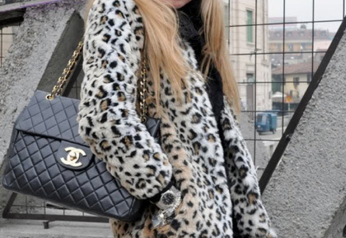 animal print, bag, black, blonde, chanel