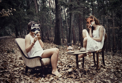 animals, forest, masks, tea party, trees, woods