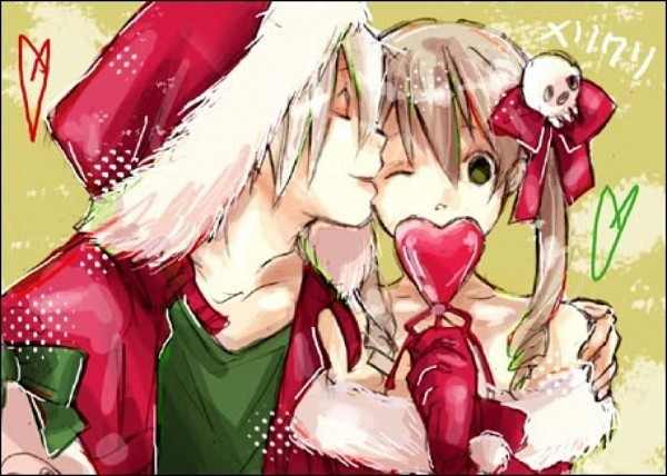 anime, christmas, couple, duo, kiss